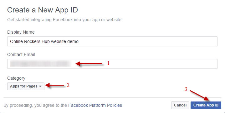 Enter App details for your facebook app