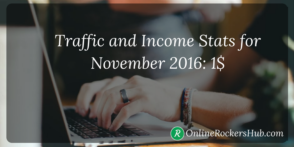 OnlineRockersHub traffic and Income stats for November 2016