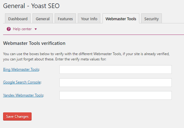 Google Search Console meta verification in Yoast SEO
