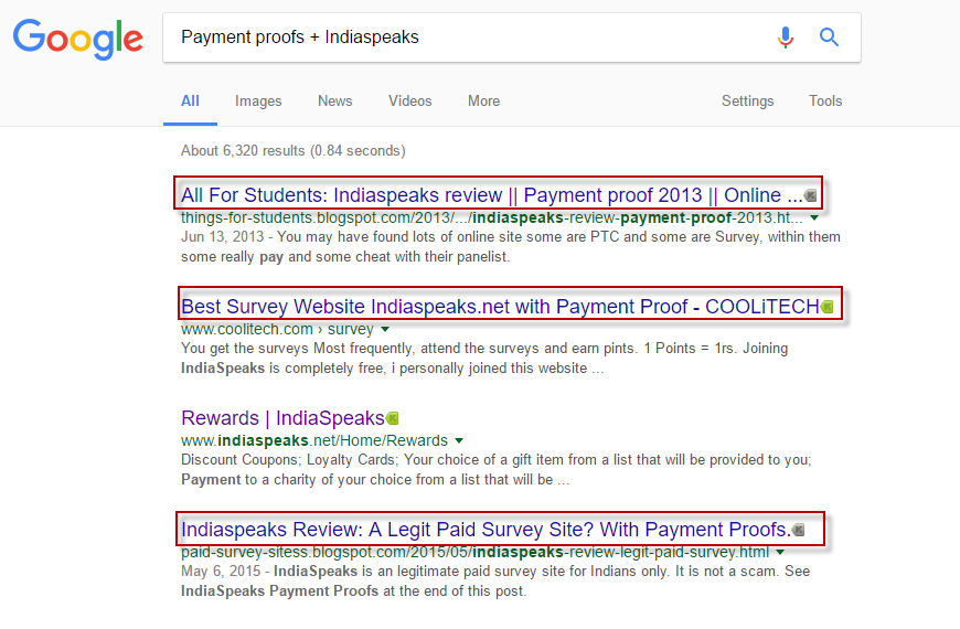 IndiaSpeaks payment proofs google search