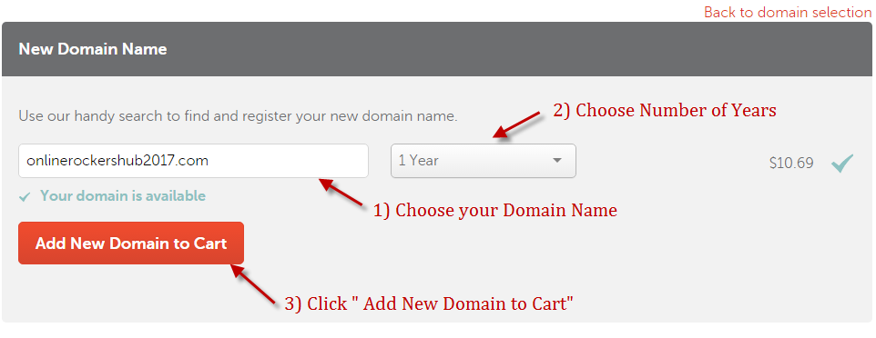 Choose Domain name and no. of years when you buy Namecheap domain