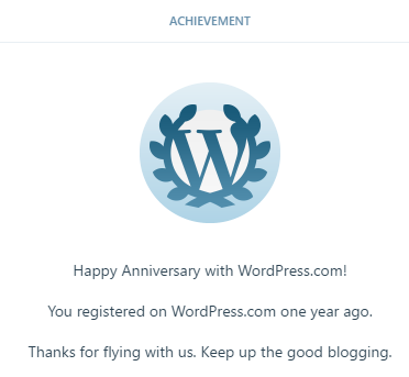 1 year of WordPress - Happy Aniversary wtih WordPerss.com