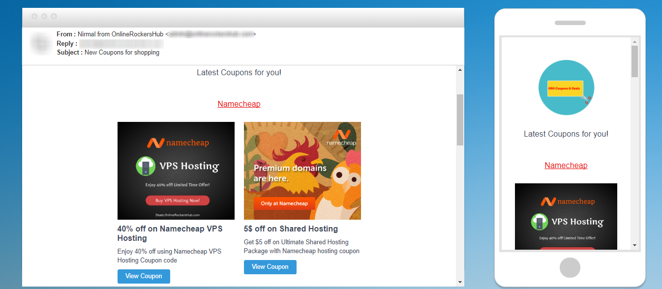 Coupons & Deals newsletter sample created with SendInBlue