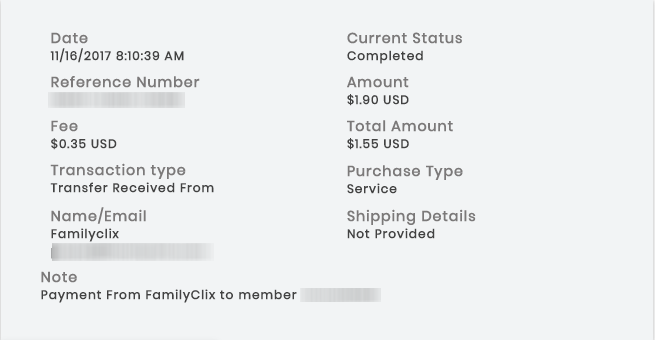 FamilyClix Payment Proof - November 2017