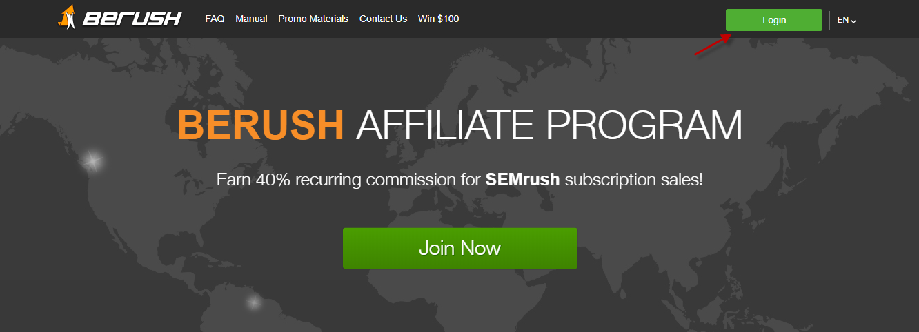 Click the Login Button at BeRush Homepage