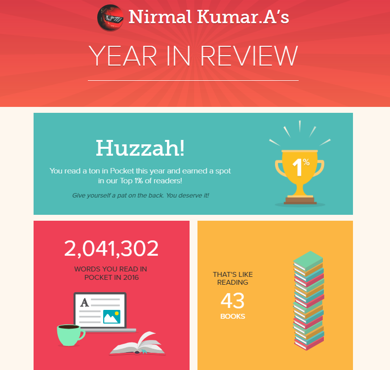 Nirmal Kumar's 2016 statistics in pocket app