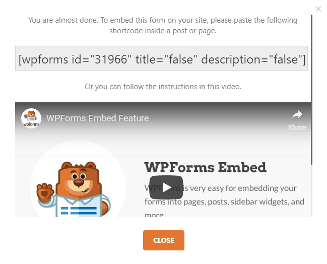 WPForms shortcode for embedding