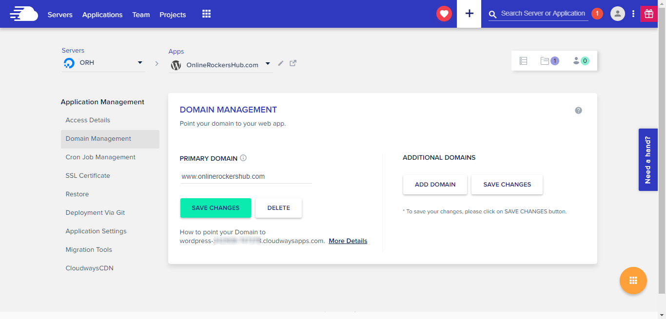 Add your domain name to the primary domain under Cloudways Domain Management