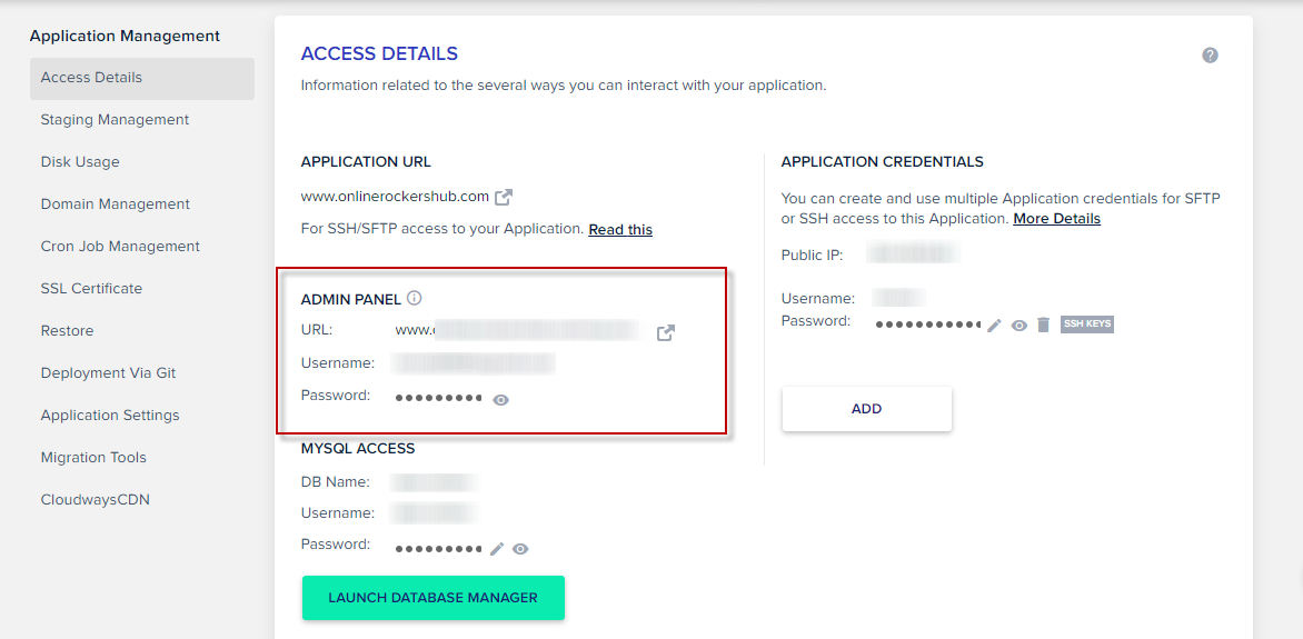 WordPress Application details in Cloudways
