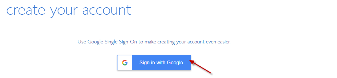 Create your BlueHost account with Google Single Signon