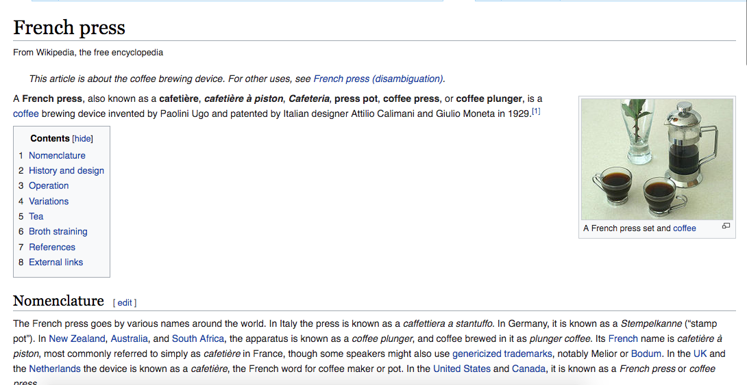 Example of Keyword Usage in Wikipedia