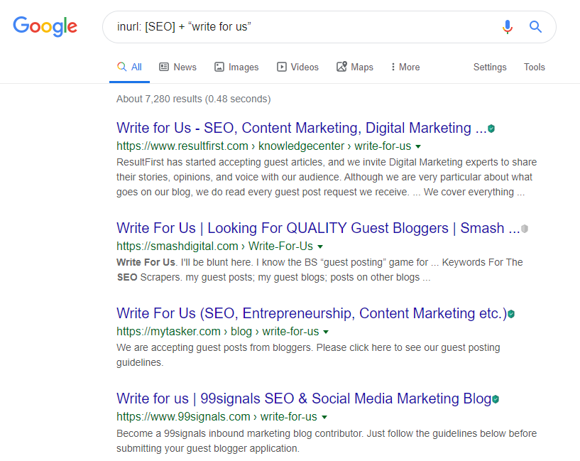 Google Search Keyword Syntax for finding Guest Blogging Sites