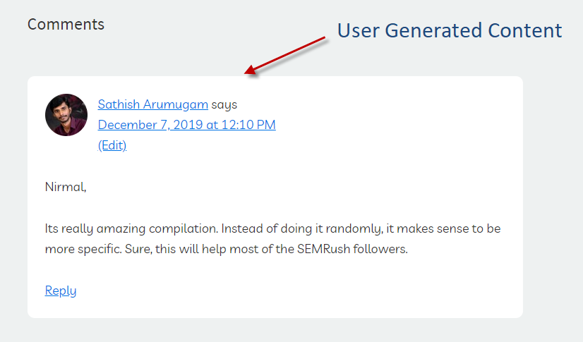 Comments are considered as User Generated Content