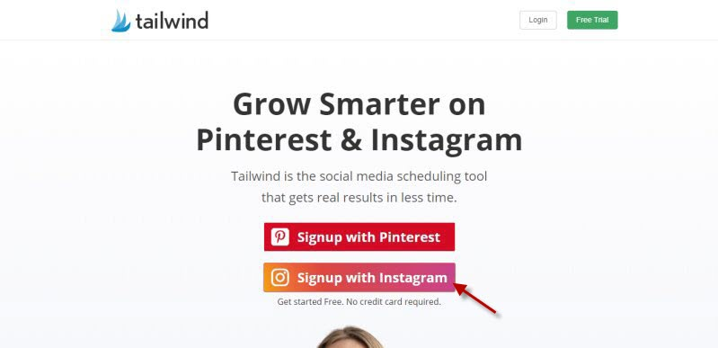 Click Signup with Instagram at Tailwind